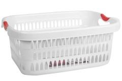 Καλάθι ρούχων ορθογώνιο πλαστικό 48 εκ. λευκό με κόκκινες λαβές