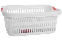 Καλάθι ρούχων ορθογώνιο πλαστικό 55 εκ. λευκό με κόκκινες λαβές