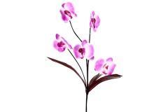 Διακοσμητικό λουλούδι ορχιδέα με 5 άνθη χρ. μωβ-λευκό