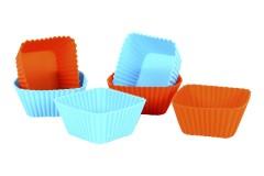 Φορμάκια μάφιν σιλικόνης τεμ. 6 χρ. πορτοκαλί-μπλε