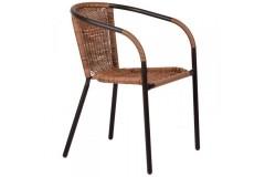 Πολυθρόνα μεταλλική και επένδυση Wicker χρ. καφέ