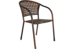 Πολυθρόνα - καρέκλα μεταλλική με επένδυση wicker χρ. Cappuccino - PAROS