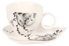 Φλιτζάνι καφέ τεμ. 1 πορσελάνης με πιατελάκι & ντεκόρ χρ. μαύρο
