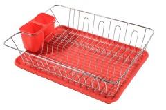 Πιατοθήκη μεταλλική 45Χ35Χ11 εκ. με πλαστικό δίσκο χρ. κόκκινο