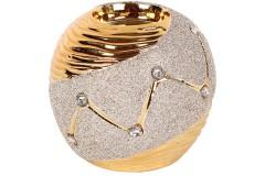 Ρεσώ - κηροπήγιο κεραμικό με strass Φ9,5Χ9 εκ. χρ. χρυσό