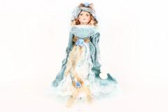 Κούκλα πορσελάνης 50 εκ. με φόρεμα τιρκουάζ