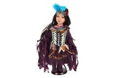 Κούκλα πορσελάνης Ινδιάνα 42 εκ. με στολή χρ. μωβ