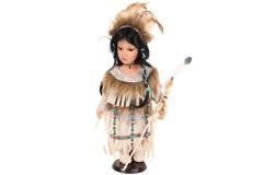 Κούκλα πορσελάνης Ινδιάνα 42 εκ. με στολή χρ. μπεζ