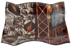 Πιατέλα τετράγωνη γυάλινη 23Χ23Χ3 εκ. με ντεκόρ φύλλο