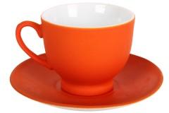 Φλιτζάνι καφέ τεμ. 1 πορσελάνης με πιατελάκι 80 ml χρ. πορτοκαλί ματ