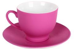 Φλιτζάνι καφέ τεμ. 1 πορσελάνης με πιατελάκι 80 ml χρ. μωβ ματ