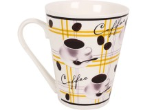 Κούπα πορσελάνης 340 ml σχ. COFFEE χρ. κίτρινο
