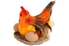 Διακοσμητική κότα με αυγά 18Χ15 εκ.