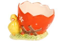 Πασχαλινό καλάθι κεραμικό με πουλάκι 13Χ10 εκ. χρ. πορτοκαλί