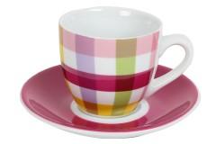 Φλιτζάνι καφέ τεμ. 1 πορσελάνης με πιατελάκι 105 ml σχ. φούξια καρώ