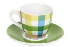 Φλιτζάνι καφέ τεμ. 1 πορσελάνης με πιατελάκι 105 ml σχ. πράσινο καρώ