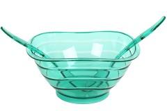 Σαλατιέρα πλαστική με 2 κουτάλες Φ27Χ13 χρ. πράσινο