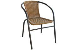Πολυθρόνα - καρέκλα μεταλλική χρ. ανθρακί με επένδυση Wicker