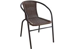 Πολυθρόνα μεταλλική χρ. καφέ με επένδυση Wicker