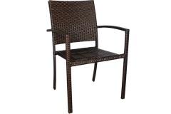 Πολυθρόνα - καρέκλα μεταλλική με επένδυση Wicker σε χρ. Cappuccino σχ. SALLY