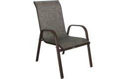 Πολυθρόνα αλουμινίου χρ. καφέ με επένδυση Textline