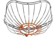 Ψωμιέρα - φρουτιέρα μεταλλική 22,5Χ22,5Χ12 εκ.  με PVC χρ. πορτοκαλί