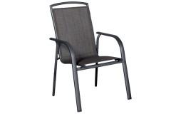 Πολυθρόνα - καρέκλα αλουμινίου χρ. ανθρακί με επένδυση Textline - MELINA