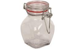 Βάζο αποθήκευσης γυάλινο 115 ml με λάστιχο χρ. κόκκινο