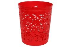 Καλάθι αχρήστων πλαστικό διάτρητο Φ26Χ30 εκ. χρ. κόκκινο