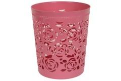 Καλάθι αχρήστων πλαστικό διάτρητο Φ26Χ30 εκ. χρ. ροζ
