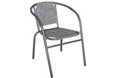 Πολυθρόνα - καρέκλα μεταλλική χρ. καφέ με επένδυση Textline