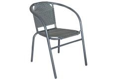 Πολυθρόνα - καρέκλα μεταλλική χρ. ανθρακί με επένδυση Textline
