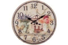 Ρολόι τοίχου ξύλινο Φ30 εκ. σχ. FLOWERS