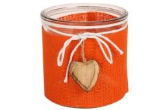 Φανάρι - γυάλα διακόσμησης Φ12Χ12 εκ. με λινάτσα και καρδιά ξύλινη χρ. πορτοκαλί