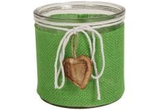 Φανάρι - γυάλα διακόσμησης Φ12Χ12 εκ. με λινάτσα και καρδιά ξύλινη χρ. πράσινο