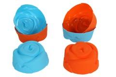 Φορμάκια σιλικόνης τεμ. 6 Φ6,5Χ3 εκ. σχ. ΤΡΙΑΝΤΑΦΥΛΛΟ χρ. μπλε-πορτοκαλί