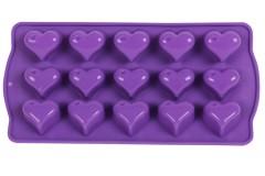 Φόρμα σιλικόνης για σοκολατάκια 21Χ10,5Χ2 εκ. σχ. ΚΑΡΔΙΑ χρ. μωβ