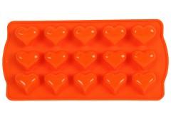 Φόρμα σιλικόνης για σοκολατάκια 21Χ10,5Χ2 εκ. σχ. ΚΑΡΔΙΑ χρ. πορτοκαλί