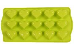 Φόρμα σιλικόνης για σοκολατάκια 21Χ10,5Χ2 εκ. σχ. ΚΑΡΔΙΑ χρ. πράσινο