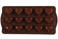 Φόρμα σιλικόνης για σοκολατάκια 21Χ10,5Χ2 εκ. σχ. ΚΑΡΔΙΑ χρ. καφέ