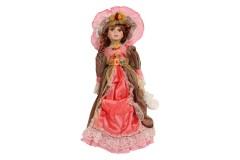 Κούκλα διακοσμητική πορσελάνης 52 εκ. με φόρεμα και καπέλο