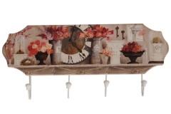 Κρεμάστρα τοίχου ξύλινη 45Χ20 εκ. με 4 μεταλλικούς γάντζους σχ. FLOWERS