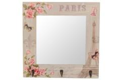 Καθρέφτης - κρεμάστρα τοίχου ξύλινος με 3 γάντζους  34,5Χ34,5 εκ. σχ. Paris