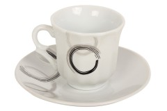 Φλιτζάνι καφέ τεμ. 1 πορσελάνης με πιατελάκι 66 ml σχ. ΚΥΚΛΟΙ
