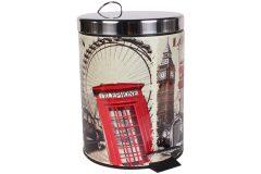 Κάδος μπάνιου μεταλλικός 5 λίτρα με ΙΝΟΧ καπάκι Φ20Χ27 εκ. σχ. LONDON