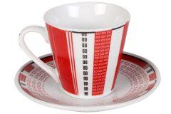 Φλιτζάνι espresso - καφέ τεμ. 1 πορσελάνης με πιατελάκι 73 ml σχ. LINES χρ. κόκκινο