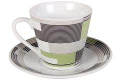 Φλιτζάνι espresso - καφέ τεμ. 1 πορσελάνης με πιατελάκι 73 ml σχ. SHAPES χρ. γκρι - πράσινο