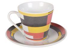 Φλιτζάνι espresso - καφέ τεμ. 1 πορσελάνης με πιατελάκι 73 ml σχ. SHAPES χρ. κόκκινο - κίτρινο