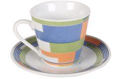 Φλιτζάνι espresso - καφέ τεμ. 1 πορσελάνης με πιατελάκι 73 ml σχ. SHAPES χρ. μπλε - πορτοκαλί
