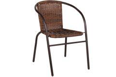 Πολυθρόνα μεταλλική χρ. καφέ και επένδυση Rattan χρ. καφέ mix